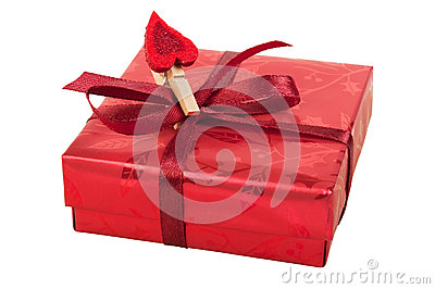 Red gift box with a heart