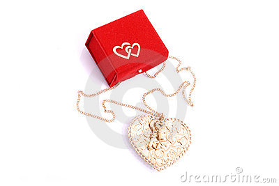 Red Gift Box And A Heart Shape Jewel Royalty Free Stock Photos - Image: 12495838