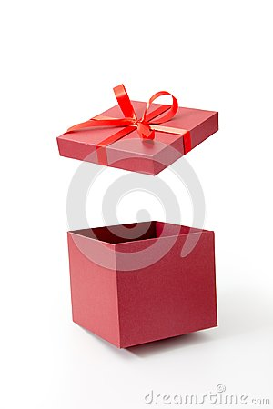 Free Red Gift Box Open With Ribbon Stock Photography - 105113312