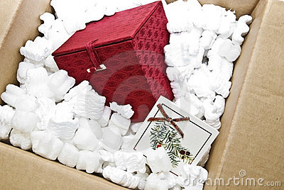 Red Gift Box in Packing Material