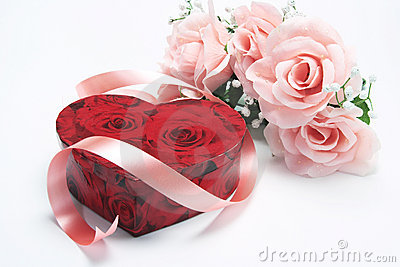 Red Gift Box with Pink Roses