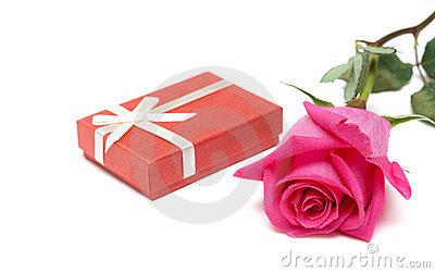Red gift box and rose