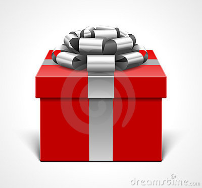 Red Gift Box and Silver Bow