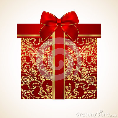 Free Red Gift Box With Golden Pattern, Bow, Ribbon Stock Image - 31200601