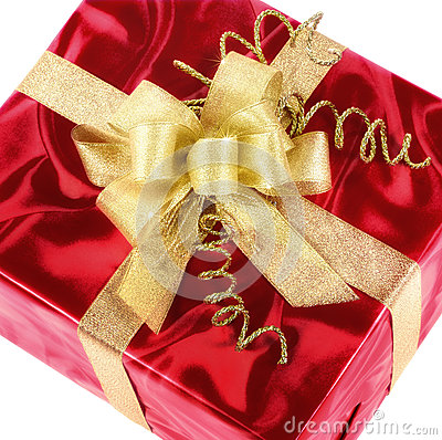 Free Red Gift Box With Smart Gold Bow Royalty Free Stock Image - 35624146
