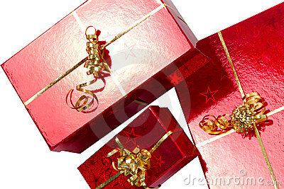 Red gift boxes for Christmas