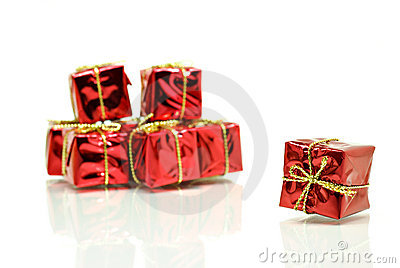 Red gift boxes with gold ribbon