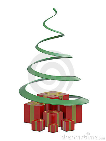 Red gift boxes and green Christmas tree