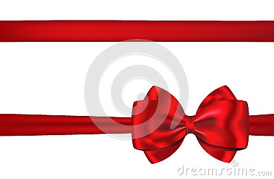 Red gift card ribbon and bow for decorations