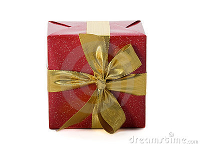 Red gift with gold ribbon