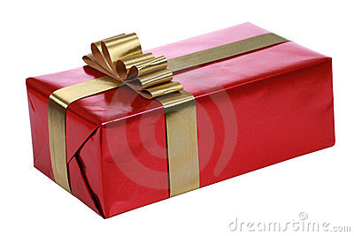 Red Gift With Gold Ribbons Royalty Free Stock Photography - Image: 7407217