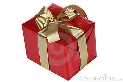 Red gift with gold ribbons