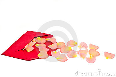 Red gift note envelope with rose leaves