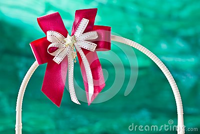 Red gift ribbon on arc