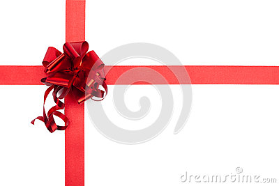 Red gift ribbon bow of shiny fabric