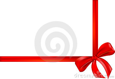 Red gift ribbon, bow, wrap
