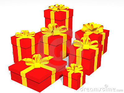 Red gifts in 3d over a black background