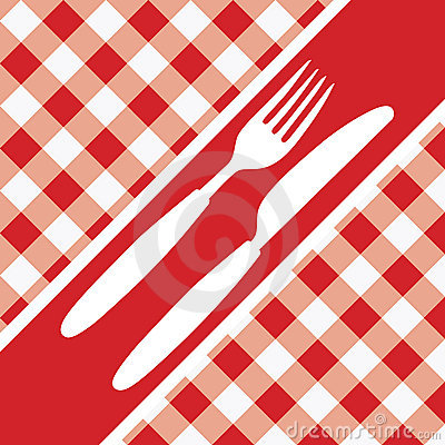 Red Gingham Menu Card