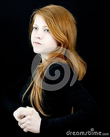 Red girl on black