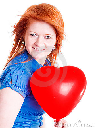 Red girl holding valentine balloon heart