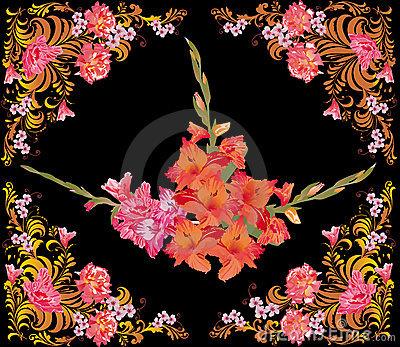 Red gladiolus flowers in rose frame