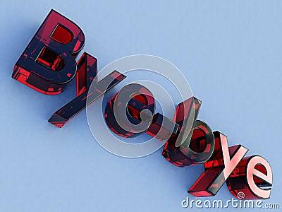 Red glass bye-bye logo