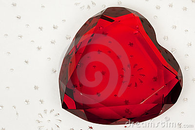 Red Glass Heart on Pattern