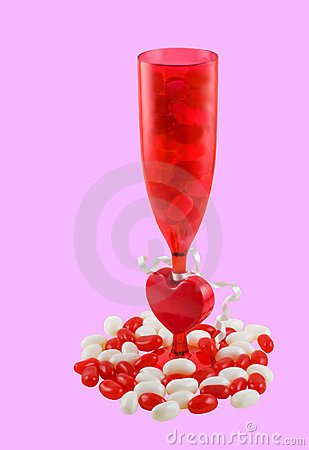 Red glass of jelly beans