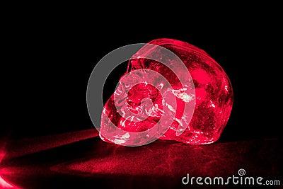 Red glass skull