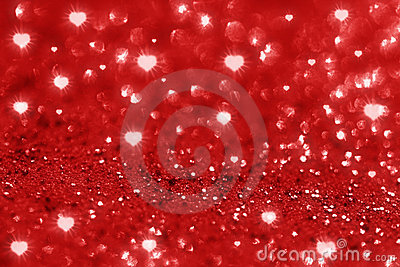 Red glitter heart shape sparkles  background
