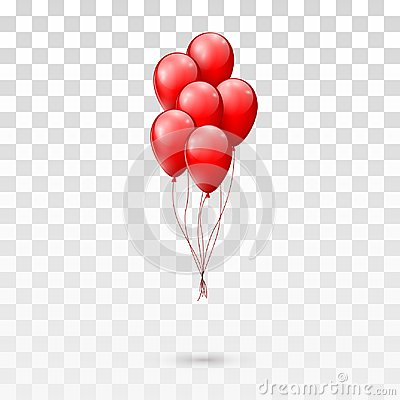 Free Red Glossy Balloons Bunch.  Illustration Isolated On Transparent Background Stock Image - 104111491