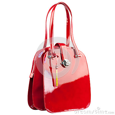 Red Glossy Female Leather Handbag Isolated On White Background ...