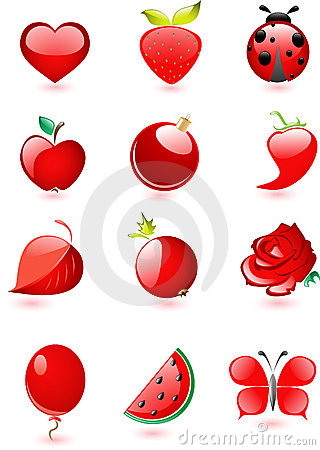 Red glossy icon set