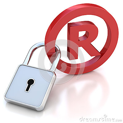 Red glossy Trademark sign with padlock on a white