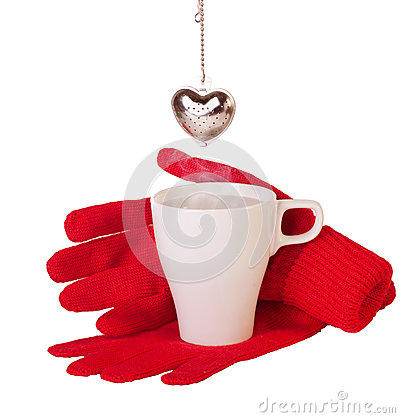 Red gloves and brewing  tea