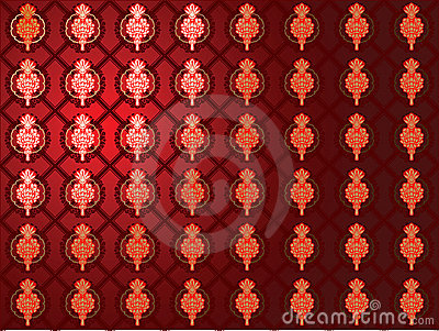 Red Glow Gold Seamless Wallpaper.