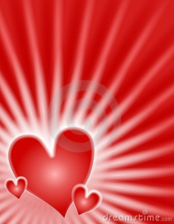 Red Glowing Light Rays Hearts Background