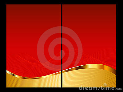 Red and gold abstract background, front and back