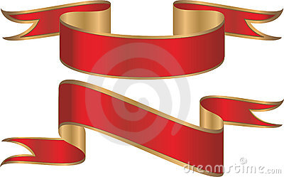Red and gold banners or ribbons