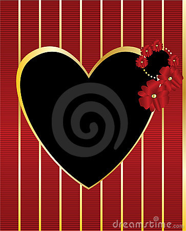Red gold black heart frame background