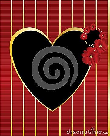 Red gold black heart frame background