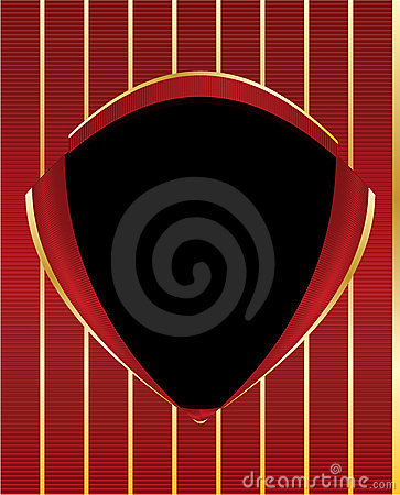 Red gold black shield frame background