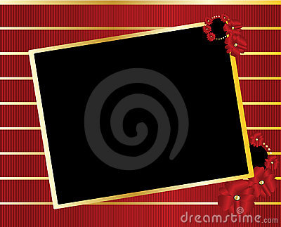 Red gold black tilted rectangle frame background