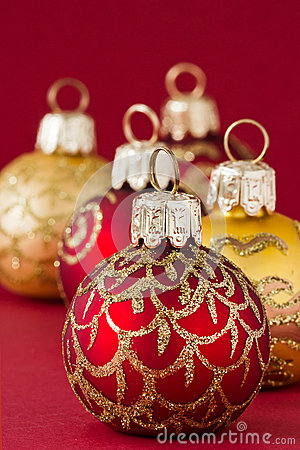 Red and gold christmas balls III