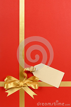 Red And Gold Christmas Gift Background Ribbon Bow Blank Tag Or Label