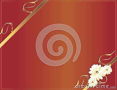 Red gold diagonal flower design