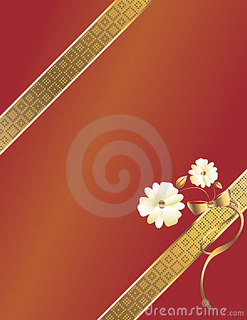 Red gold diagonal ribbon
