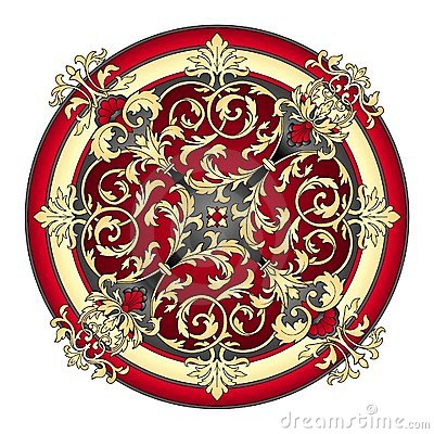 Red and gold eastern ornament  vector