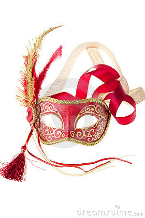 Red and gold feathered carnival mask