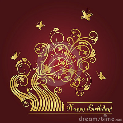 Red And Gold Floral Birthday Card Royalty Free Photos – Birthday Greetings Download Free